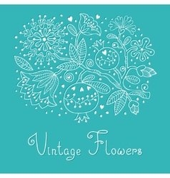 Vintage Festive card with flowers and pomegranate vector image vector image