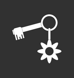 White icon on black background key and key fob vector