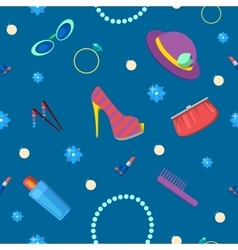 Woman Fashion Seamless Pattern with Cosmetics vector image