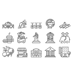 Thin locations and city icons set vector