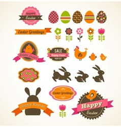 Set of easter vintage elements banner labels and vector