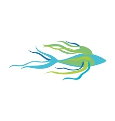 Colorful silhouette with sea fish long fins vector