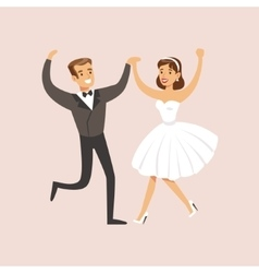 Newlyweds dancing rock-n-roll at the wedding party vector