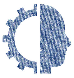 Cyborg gear fabric textured icon vector