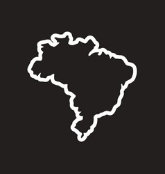 stylish black and white icon brazilian map vector image