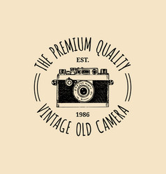 photography logo vintage old camera label vector image