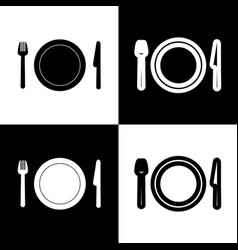 Fork plate and knife  black and white vector
