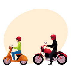 Motorcycle motorbike and scooter drivers riders vector