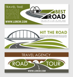 Road travel and car trip banner template set vector