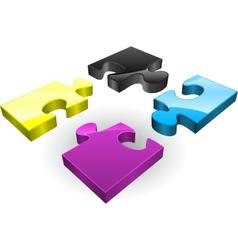 Four CMYK puzzles vector image