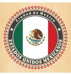 Vintage label cards of mexico flag vector