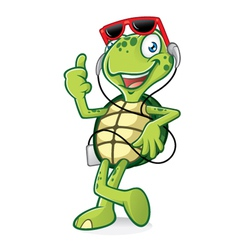 Turtle with earphone vector