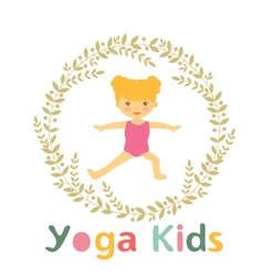 Cute yoga kids card with little girl vector