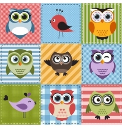 Patchwork with owls and birds vector image