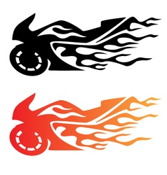 Flaming sport bike motorcycle logo vector