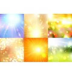 Set of summer shining magical background with vector