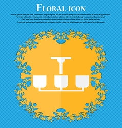 Chandelier light lamp icon sign floral flat design vector