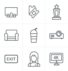 Line icons style cinema and movie icons set vector