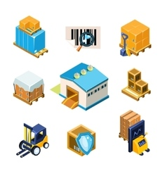Warehouse and logistics equipment icon set vector