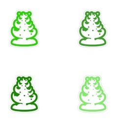 Set of paper stickers on white background snow vector
