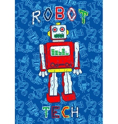 Robot print with a repeat robot background vector