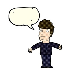 Cartoon confused man with speech bubble vector