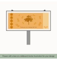 Flower with a bee on a billboard to vector