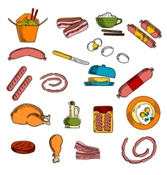 Breakfast food drink and meat elements vector