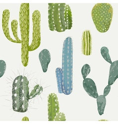 Cactus background seamless pattern exotic plant vector