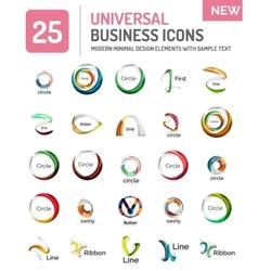Logo collection abstract geometric business icon vector