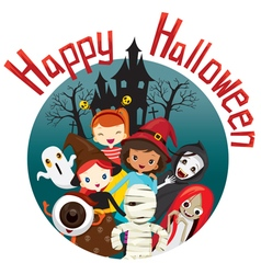 Halloween ghosts and children smiling vector