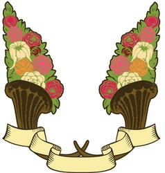 vintage horn of plenty flowers vector image