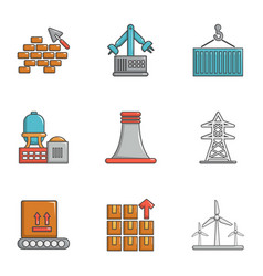 Atomic industry icons set cartoon style vector