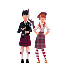 bagpiper piper and scottish girl in national vector image vector image