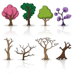 Cartoon trees set vector image