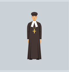 Catholic priest in black soutane representative vector