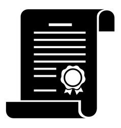 certificate icon simple black style vector image