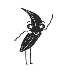 contour kawaii cute happy banana fruit vector image
