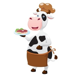 Cow cartoon with beef steak vector