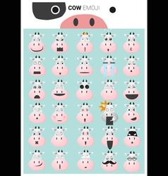 Cow emoji icons vector