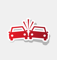 Crashed cars sign new year reddish icon vector