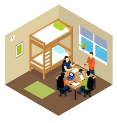 Education Student Isometric Composition vector image vector image