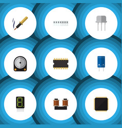 Flat icon device set of microprocessor hdd vector