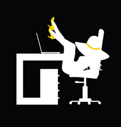girl figure silhouette in office on black vector image vector image