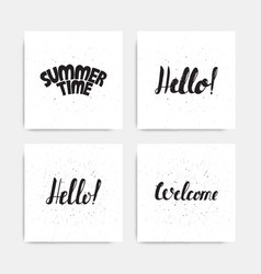 Greeting card with ribbon and word hello vintage vector