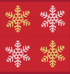 Knitted snowflake pattern vector