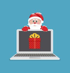 laptop with gift santa claus giving gift on vector image