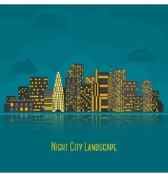 Modern big city night landscape with reflection in vector image vector image