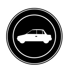 monochrome circular frame with automobile in side vector image vector image