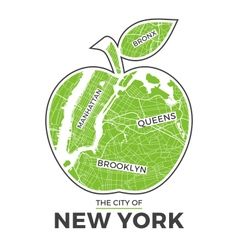 new york t shirt design green big apple with city vector image vector image